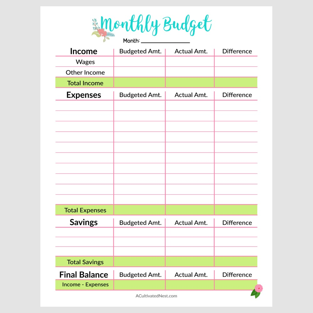 picture relating to Printable Budget Template named Printable Month-to-month Price range Template