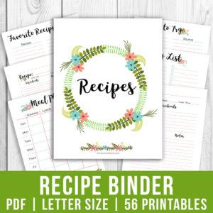 Recipe Binder- Floral