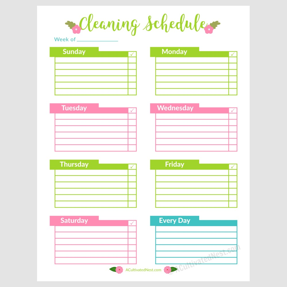 graphic relating to Printable Weekly Cleaning Schedule known as Printable Weekly Cleansing Timetable