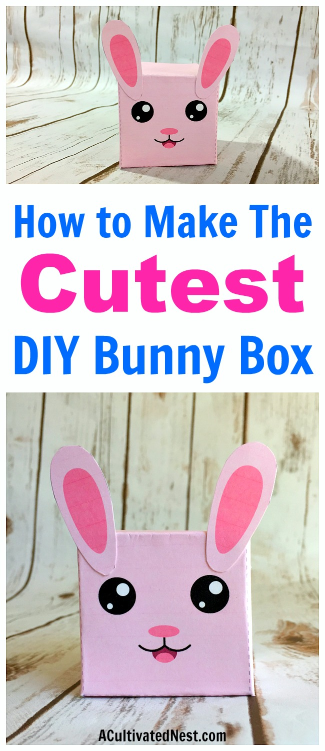 DIY Bunny Box Easter Craft- This bunny box Easter DIY project makes a cute addition to your Easter decor! It also is a fun kids craft, and can even be used as a small gift box! Free printable template included! | folding craft, paper craft, #DIY #Easter #craft #printable
