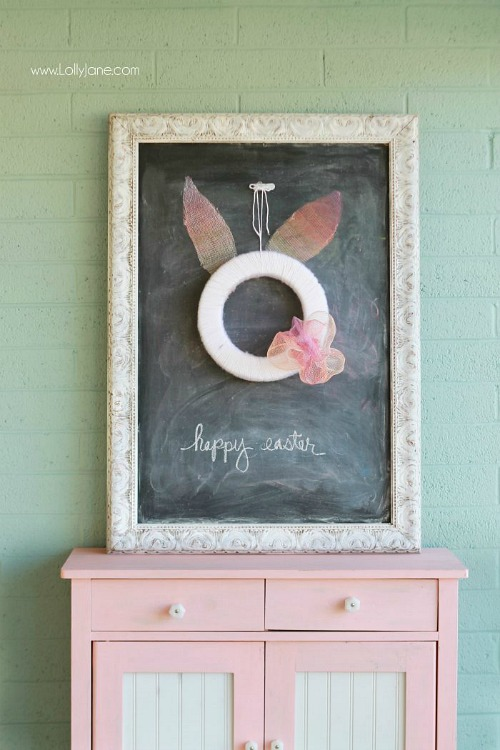 15 Gorgeous DIY Easter Wreaths- The best way to brighten up your home for Easter is with a beautiful wreath on your front door. Skip the store and make your own spring wreath for less by following these tutorials for DIY Easter wreaths! There are so many cute ones to choose from! | spring, flowers, chick, eggs, front door decor, Easter decorations, tutorials, #Easter #diy #wreath #craft