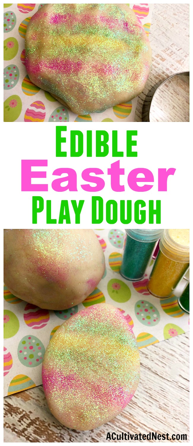 Edible Easter Play Dough- A fun and easy way to make sure your kids don't get into trouble on Easter is by handing them a ball of this homemade edible Easter play dough! It's sparkly, colorful, and 100% safe to eat! It makes a great DIY Easter basket gift, too! | make your own play dough, play dough copycat, homemade play dough, spring craft, #diy #craft #Easter #kidsActivity