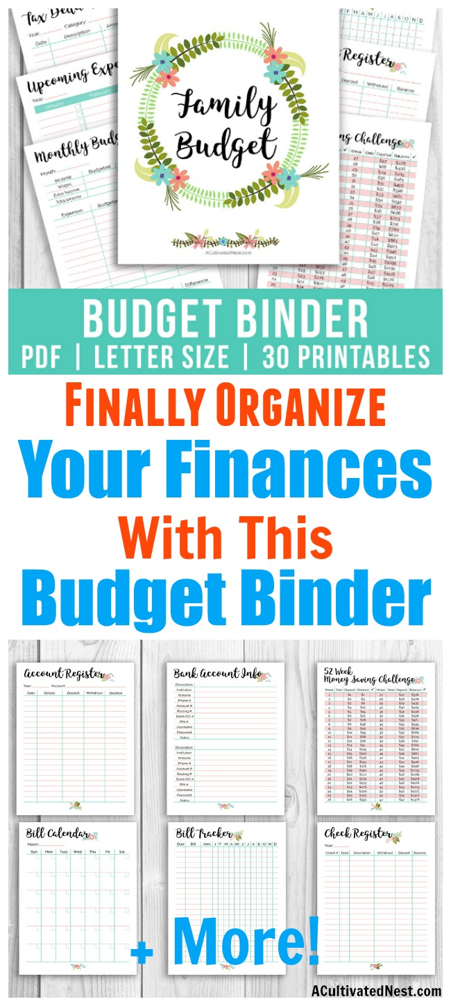 Printable Budget Binder- It's easy to organize your family's finances if you have the right worksheets! This printable budget binder includes 25+ printables (including covers and tabs), and has a pretty floral theme. It's perfect for planning out your budget in style! | how to make a budget, expense tracker, money saving challenge, #printable #budgetBinder #budgeting #personalFinance
