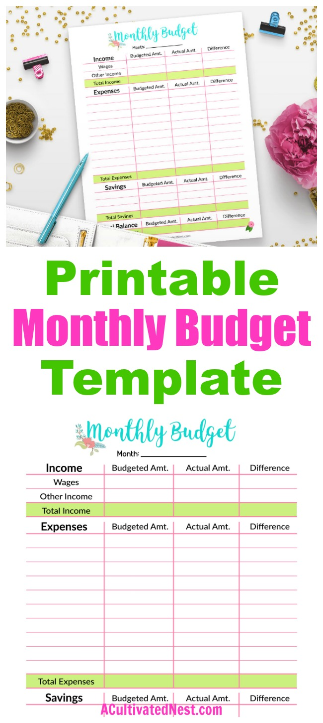 Printable Monthly Budget Template- The easiest way to get your finances under control is by budgeting! An easy (and pretty) budget template to use is this floral printable monthly budget template! | budgeting, how to save money, manage your expenses, track your income, track your savings, #debtFree #printable #budget #personalFinance
