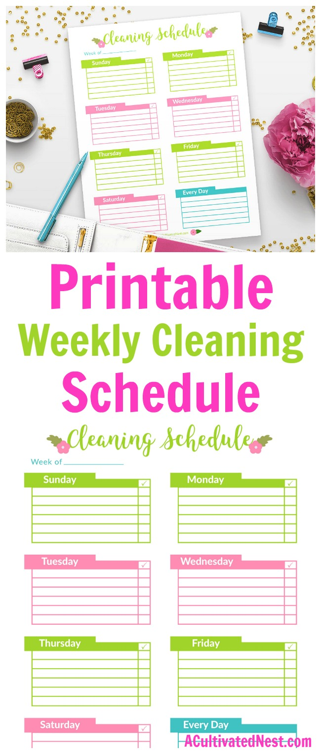 Printable Weekly Cleaning Schedule- Overwhelmed by all the cleaning you have to do in your home? Get your cleaning tasks under control by organizing your chores on this pretty floral printable weekly cleaning schedule! | stay at home mom, SAHM, cleaning checklist, cleaning chart template, #homemaking #cleaningTips #printable #cleaningSchedule