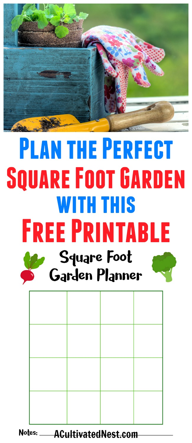 picture relating to Free Printable Garden Planner identified as Totally free Sq. Foot Backyard garden Planner Printable- A Cultivated Nest
