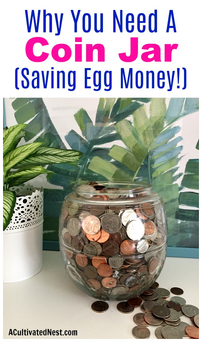 "Why You Need a Coin Jar- Saving Egg Money- A really easy way to save money is with a coin jar! The coins add up quick, and soon you'll have money to put toward your expenses or to use as ""egg money"" (AKA fun money)! 