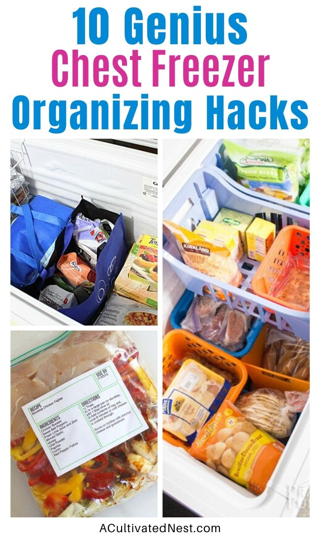 9 Ideas For Organizing a Chest Freezer- Organizing a chest freezer is actually pretty simple, if you know the right tips and tricks! Check out these 9 clever (and inexpensive) ways to organize a chest freezer! | how to organize the food in your freezer, organize your freezer meals, organize frozen food, #organizing #organization #organize #freezerOrganization #ACultivatedNest