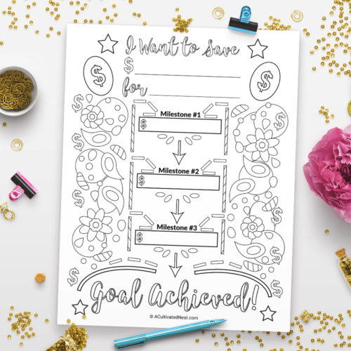 Savings Goal Planner Printable Coloring Page