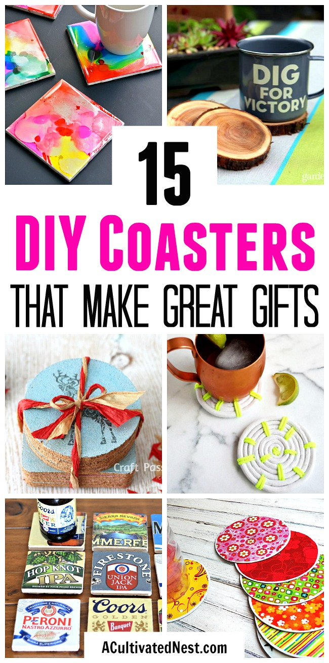 15 DIY Coasters- Want a simple homemade gift idea? Why not give a set of fun DIY coasters! Check out these 15 awesome DIY coaster ideas! | how to make your own coasters, Father's Day gift ideas, Mother's Day gift ideas, Teacher Appreciation Day gift ideas, #diy #homemadeGift #craft #diyGift #coasters