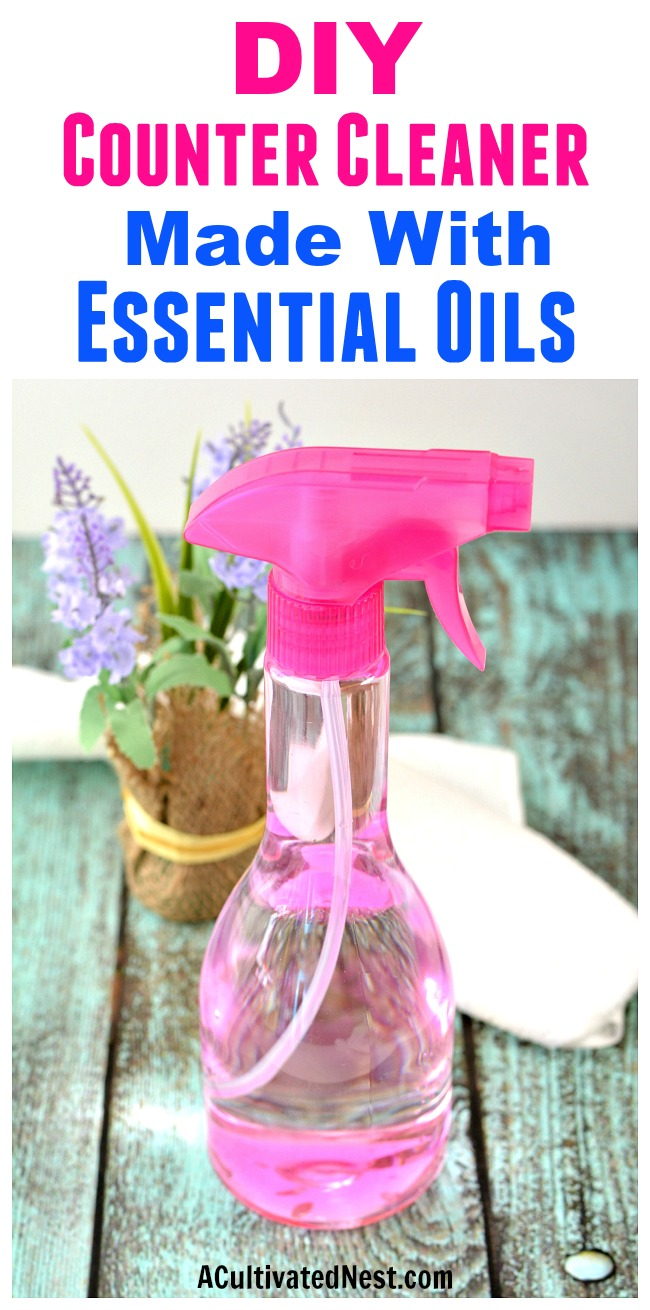 DIY Counter Cleaner Made with Essential Oils- It's easy to make your own all-natural homemade counter cleaner! You only need a couple of ingredients (including essential oils)! | #DIY #homemadeCleaner #cleaning #essentialOils #homemade #diyCleaner #cleaner #counterCleaner #kitchenCleaner
