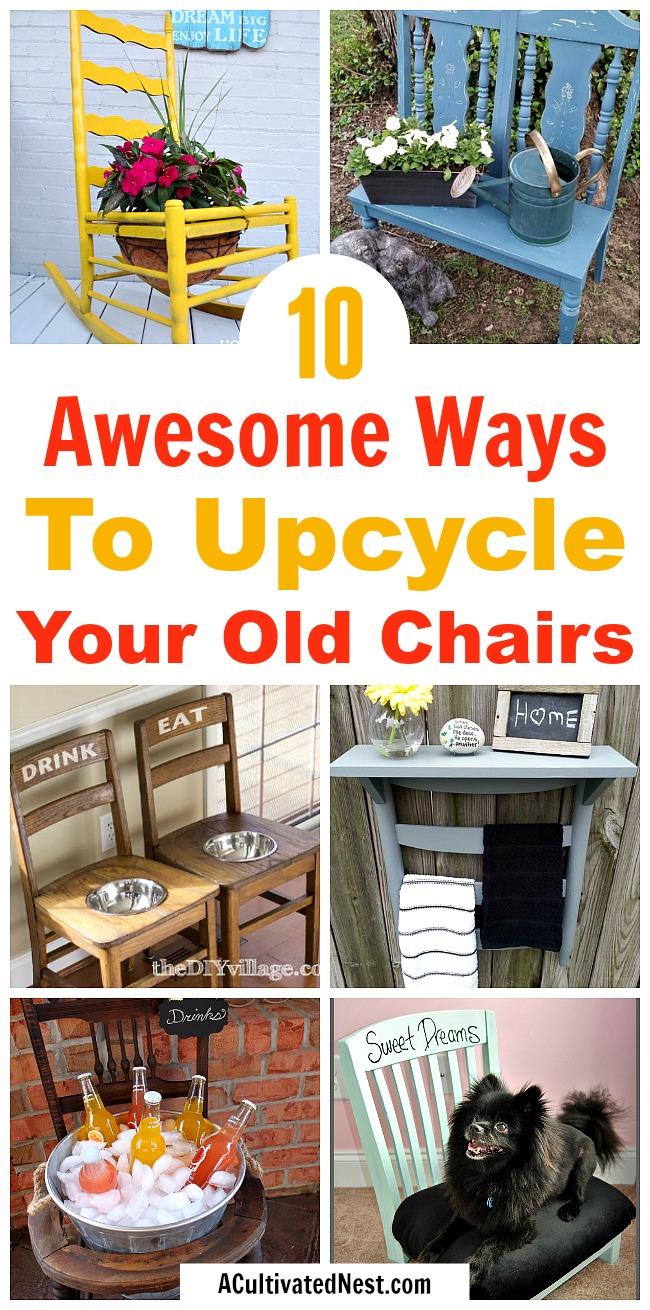 10 Clever DIYs That Repurpose Old Chairs- It's really easy to find pretty and functional ways to upcycle your old chairs. For some great ideas, check out these 10 DIY projects using old chairs! | #diyProject #upcycle #repurpose #chairs #recycle #reuse #trashToTreasure #decor #diy #furniture