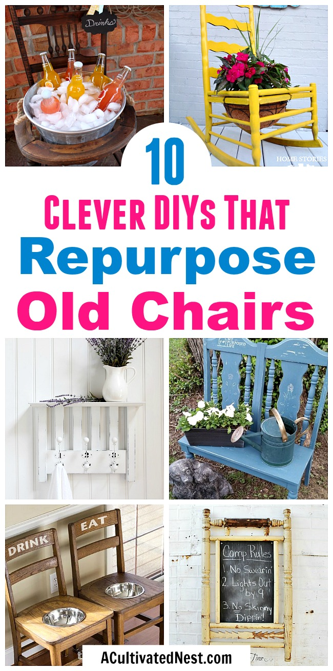 10 Clever DIYs That Repurpose Old Chairs- Don't throw out your old chairs! It's easy to find a great DIY projects to upcycle any old chairs you might have. For some great ideas, check out these 10 clever DIYs that repurpose old chairs! | #diy #upcycle #repurpose #chairs #recycle #reuse #trashToTreasure #decor #diyProject #furniture