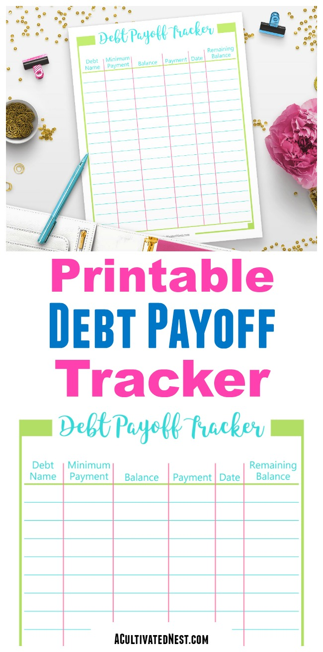 Printable Debt Payoff Tracker- Not only does this debt payoff worksheet let you see your progress toward a debt free life, it also acts as a wonderful motivational tool! | #printable #debtFree #payOffDebt #debt #personalFinance