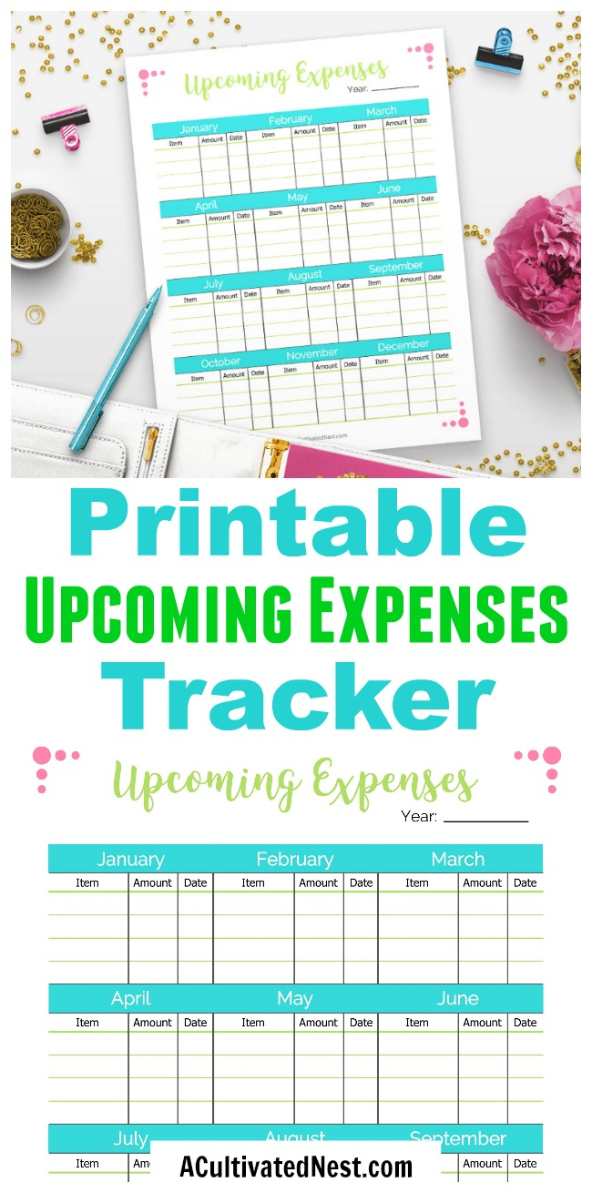 Printable Upcoming Expenses Tracker- You'll never again be surprised by an expense if you have this printable upcoming expenses tracker! Use this to track regular expenses like bills, or track more uncommon one-off expenses. This is a must-have for any budget binder! | expense worksheet, #printable #budgeting #personalFinance #frugalLiving #frugal #moneymanagement #expenses