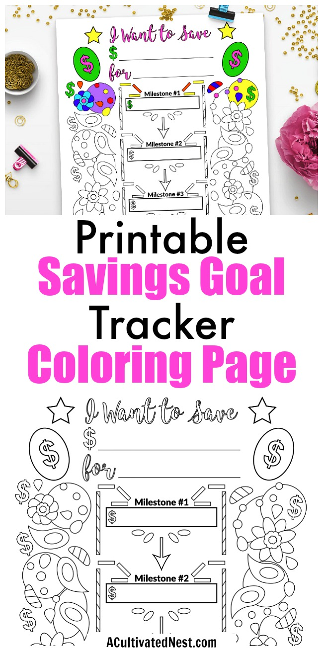 savings goal planner printable coloring page a cultivated nest
