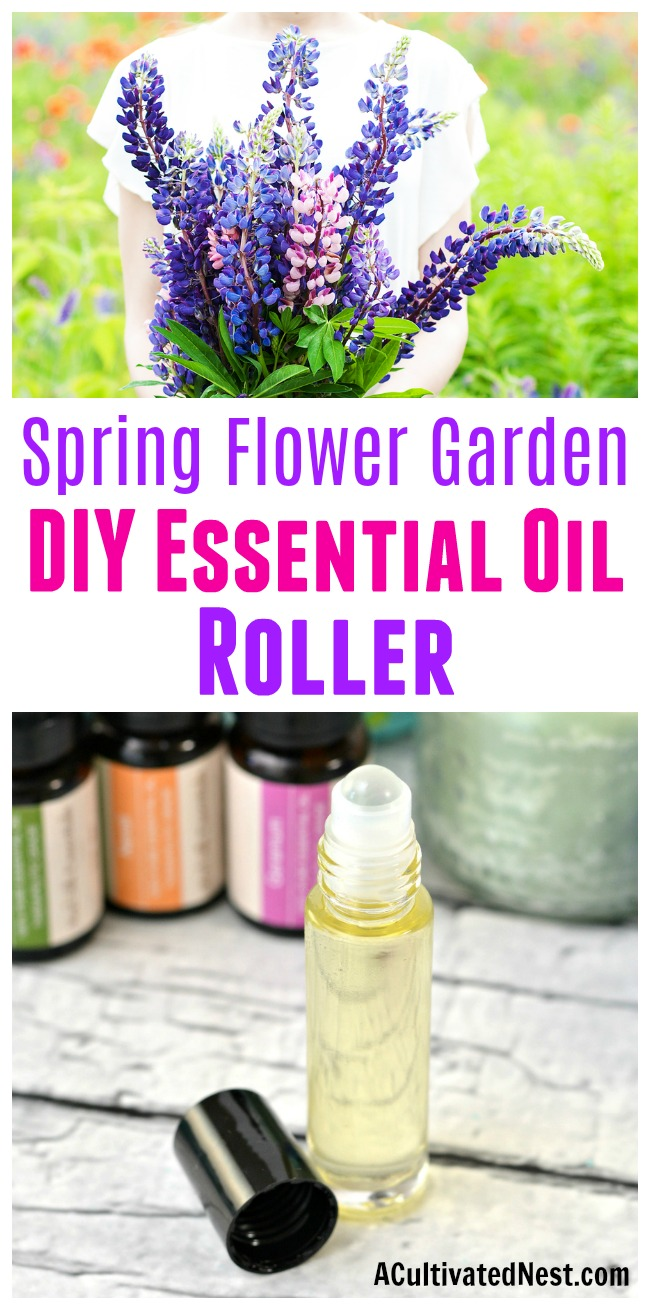 Spring Flower Garden DIY Essential Oil Roller- It's easy to make your own all-natural perfume at home! Here's how to combine a couple of ingredients and create a wonderful smelling spring flower garden DIY essential oil roller! | perfume rollerball, floral perfume, DIY gift ideas, #diy #homemade #perfume #essentialOils