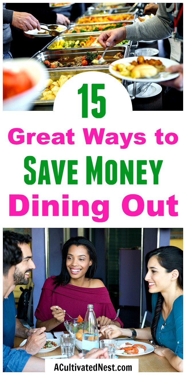 15 Ways to Save Money Dining Out- Just because you're on a budget doesn't mean you can't eat out! There are a lot of easy ways to eat out on a budget, if you know the right tips and tricks! Take a look at these 15 ways to save money dining out! | food, save money eating out, dine out on a budget, #saveMoney #frugal #frugalLiving #moneySavingTips