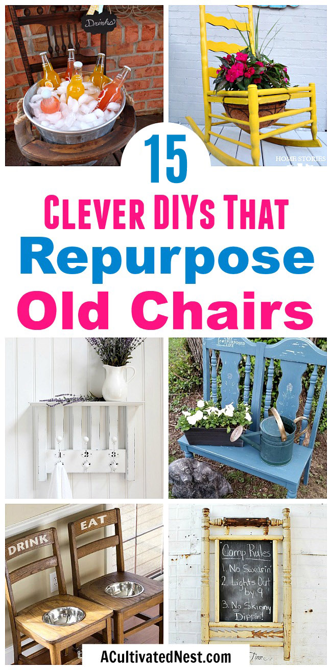 15 Clever DIYs That Repurpose Old Chairs- Don't throw out your old chairs! It's easy to find a great DIY projects to upcycle any old chairs you might have. For some great ideas, check out these 10 clever DIYs that repurpose old chairs! | #diy #upcycle #repurpose #chairs #recycle #reuse #trashToTreasure #decor #diyProject #furniture