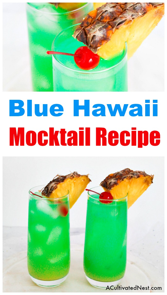 Blue Hawaii Mocktail Drink Recipe- Looking for the perfect drink to serve at a summer get-together? You have to try this Blue Hawaii mocktail! It's just as refreshing and delicious as the traditional version, but is alcohol-free and kid-friendly! | easy drink recipes for kids, #drink #recipe #mocktail #nonAlcholic #alcoholFree #summerDrink