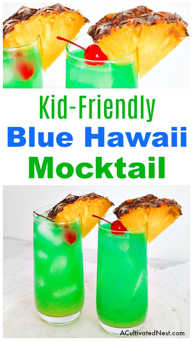 Blue Hawaii Mocktail Drink Recipe- Blue Hawaii cocktails make a wonderful summer drink. This Blue Hawaii mocktail drink recipe is just as colorful and refreshing as the traditional version, but is alcohol-free and kid-friendly! It's perfect for summer get-togethers! | easy drink recipes for kids, #drink #recipe #mocktail #nonAlcoholic #summer #alcoholFree #summerDrink