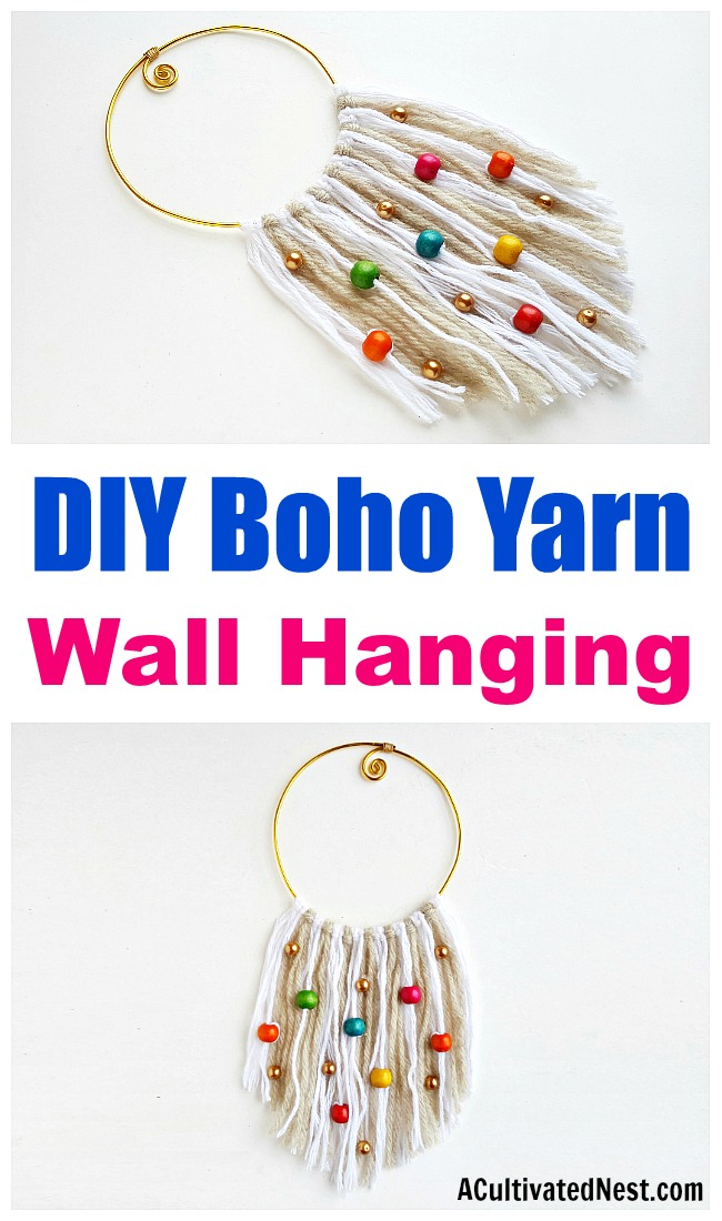 DIY Boho Yarn Wall Hanging- If you want to add a cute boho touch to your home's decor, you don't need to spend a lot. Instead, just make this easy DIY boho yarn wall hanging! | #DIY #boho #craft #decor #wallHanging #yarn #DIYProject #bohemian #bohoStyle #beads