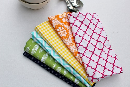 Homemade Cloth Napkins- Finished DIY napkins in various patterns