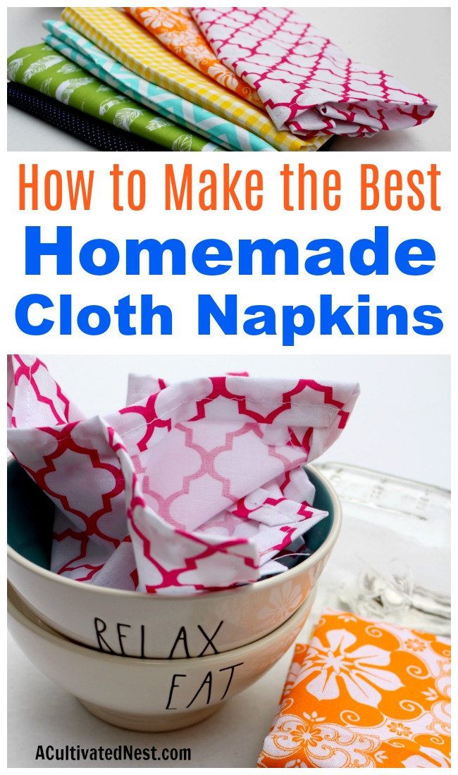 Homemade Cloth Napkins- Reusable cloth napkins are an easy way to save money on paper products. But you don't have to settle for boring white napkins. Instead, follow this super easy tutorial to make your own colorful homemade cloth napkins! | easy sewing projects, sewing projects for beginners, frugal, #diyProject #sewing #frugalLiving #sewingProject #DIY #beginnerSewing
