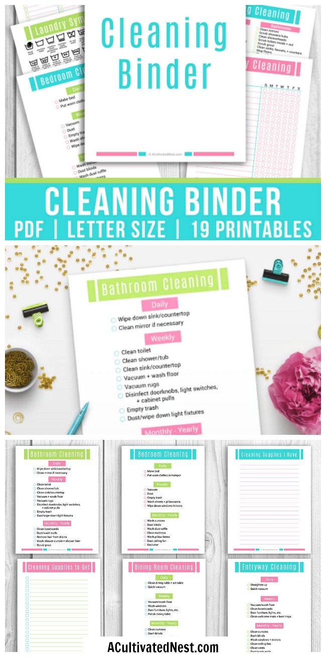 Printable Home Cleaning Binder- It's hard to keep a house clean, especially if you have kids or pets. Ensure you never miss a spot and take the stress out of scheduling your cleaning chores with this printable cleaning binder! | #printable #cleaning #cleaningTips #homeCleaning #clean #houseCleaning #homemaking #printables