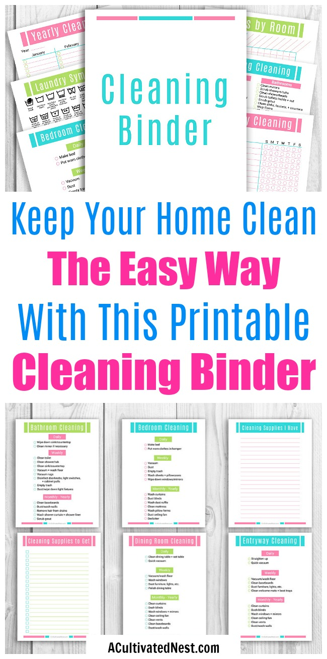 Printable Home Cleaning Binder- Keeping a home clean without some sort of schedule is kind of impossible. Ensure your home stays spotless with the help of the many handy printables and cleaning schedules in this home cleaning binder! | #printables #cleaning #cleaningTips #houseCleaning #clean #homeCleaning #homemaking #printable