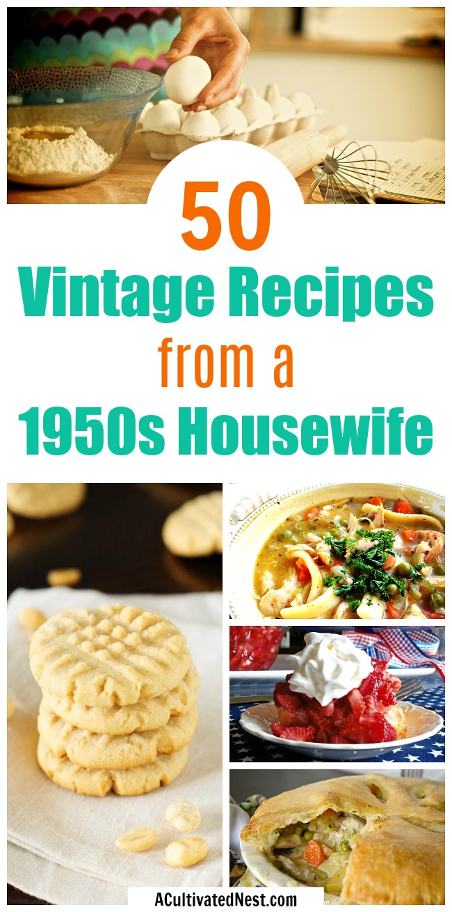 50 Recipes from a 1950s Housewife- Do you want to be like a 1950s housewife? Then you need to learn what dishes a 50s housewife cooked! Check out this huge collection of delicious vintage 50s recipes! | authentic 1950s recipes, recipes from grandma, old-fashioned recipe ideas, #recipe #food #desserts #dinner #cookies #soup #meatloaf