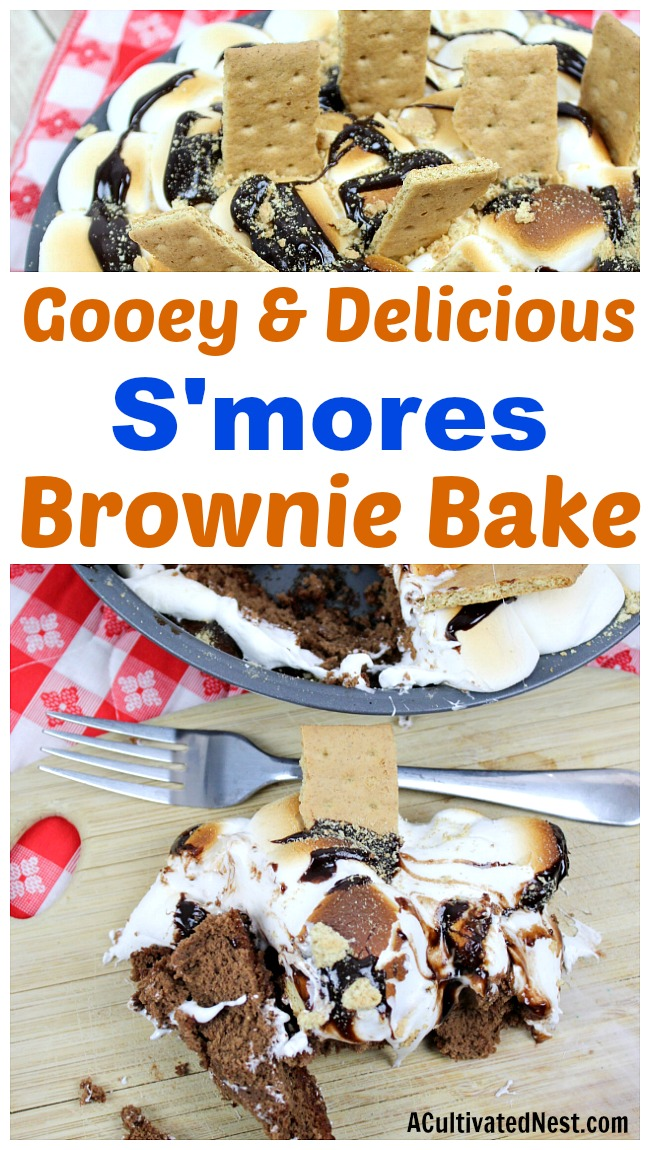 S'mores Brownie Bake- You don't need to deal with bugs and heat to enjoy some s'mores! This easy semi-homemade dessert is full of s'mores flavor, but is quick and easy to make at home in the oven! Gooey and so delicious, you're going to love this s'mores brownie bake! | #recipe #dessert #baking #brownies #chocolate #smores #camping #food #homemade #semiHomemade