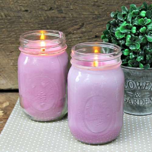 DIY Mason Jar Citronella Lavender Candle- Finished candles. | homemade citronella candles, #DIY #candle #citronella #MasonJar #craft #allNatural #bugRepellent #mosquitoes #essentialOils