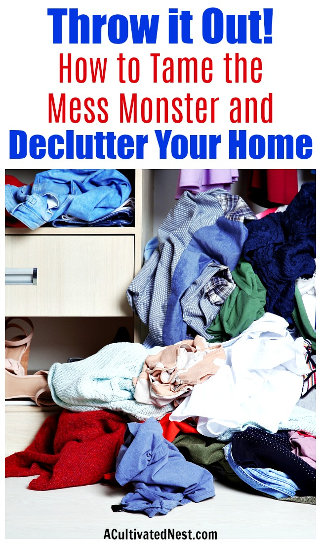 Throw it Out!: How to Tame the Mess Monster and Declutter Your Home- Tired of living in a messy home? Learn the best way to tackle decluttering, then go through your home with my room-by-room guide that includes 200+ things to get rid of!   how to declutter the junk drawer, declutter kids' toys, declutter the garage, #decluttering #declutter #organization #organizingTips #organize