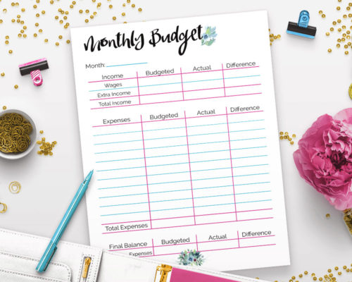 Printable Budget Binder- Watercolor