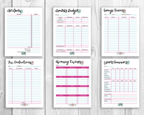 Printable Budget Binder Watercolor