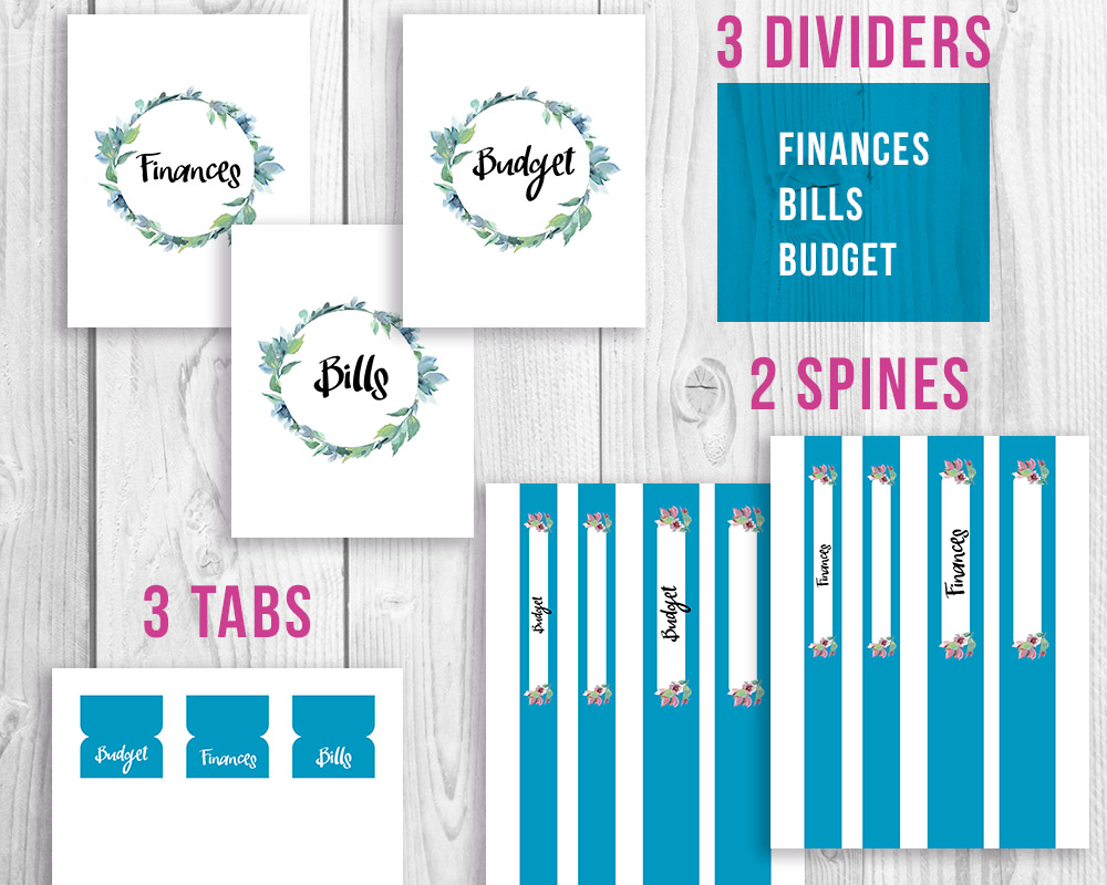 organize your finances printable budget binder watercolor a