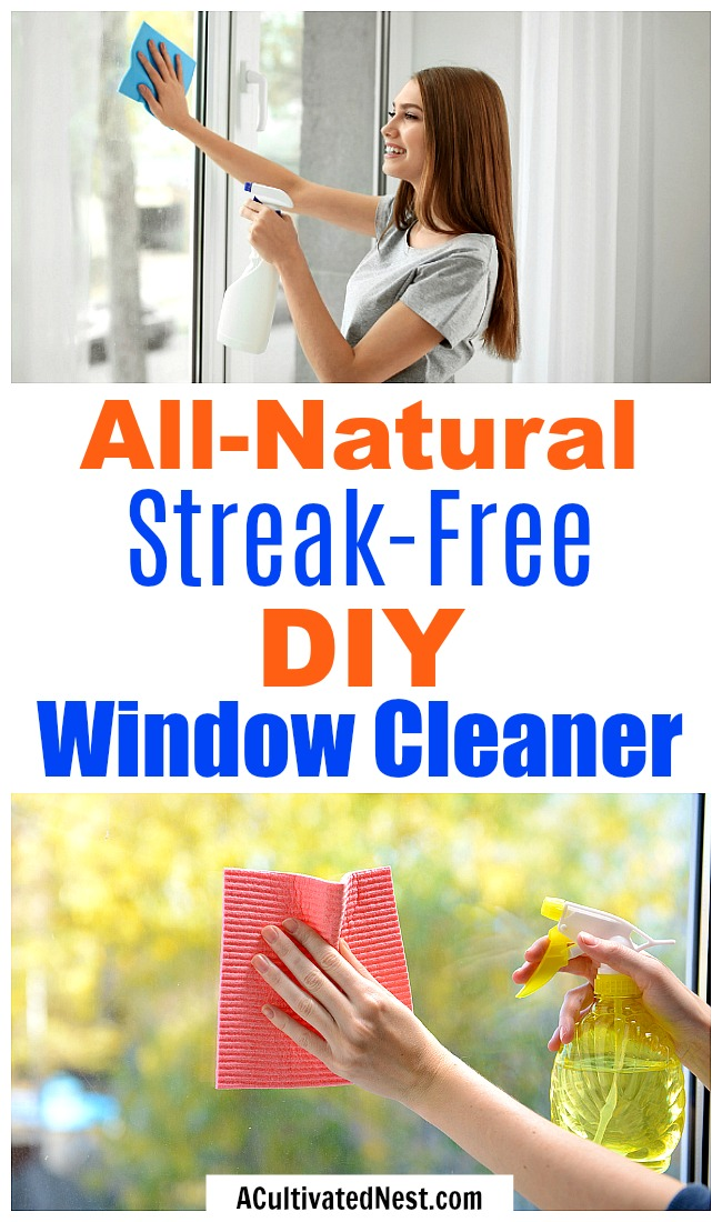 All-Natural Streak-Free DIY Window Cleaner- It's easy to make your own homemade window cleaner! This streak-free DIY window cleaner only uses a few all-natural ingredients!