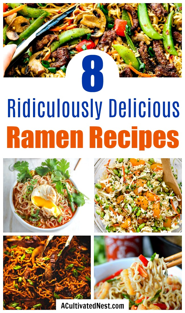 8 Ridiculously Delicious Ramen Recipes- Just because ramen is inexpensive doesn't mean it can't be used to create a great meal! Check out these 8 ridiculously delicious ramen recipes! | #recipe #noodles #ramen #food #cooking #soup