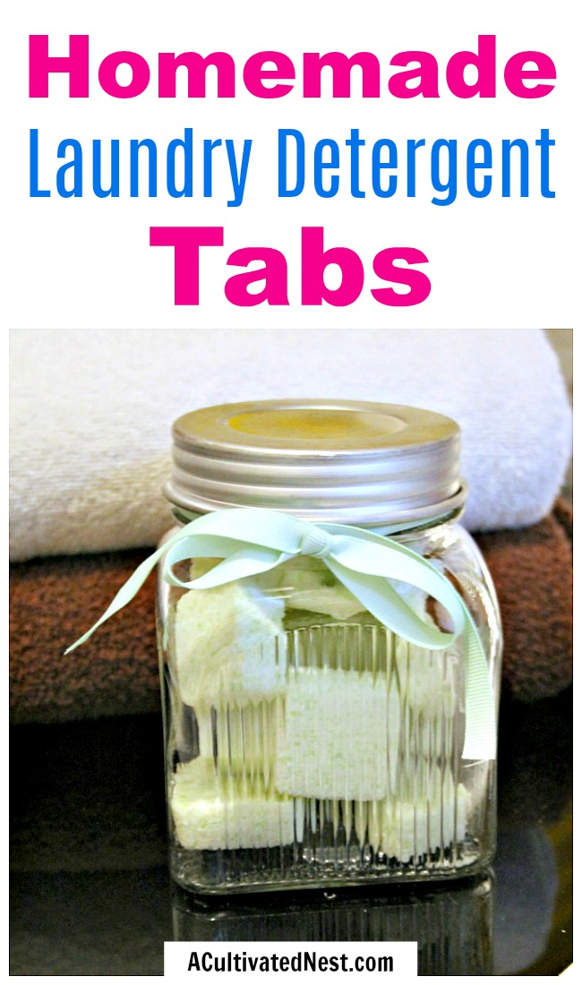 Homemade Laundry Detergent Tabs- You can easily save money on laundry by making your own homemade laundry detergent tabs! They're easy to put together and convenient to use! | #DIY #laundryTabs #homemade #saveMoney #detergent #frugal #frugalLiving #laundry