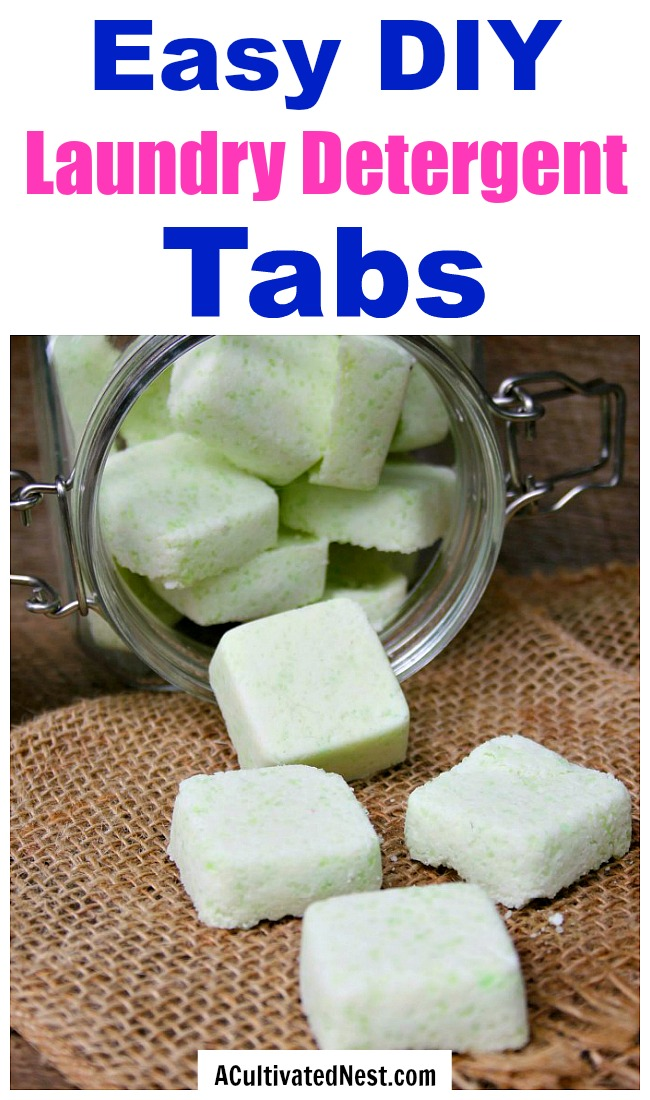Homemade Laundry Detergent Tabs- These DIY laundry detergent tabs are quick to put together, and so easy to use. Check out my simple tutorial on how to make your own homemade laundry tabs! | #DIY #laundry #homemade #detergent #frugal #saveMoney #frugalLiving #laundryTabs