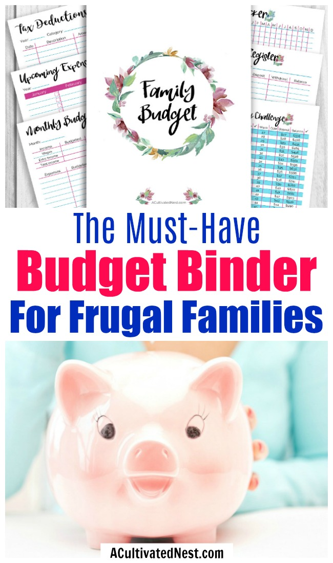 Printable Budget Binder- Every frugal family not only needs a budget, they need a way to manage and organize all the other aspects of their finances as well. With 25+ printables, this budget binder printable has everything you need to get your family's finances in order! | personal finance, organize your finances, #budgeting #frugalLiving #budget #ACultivatedNest