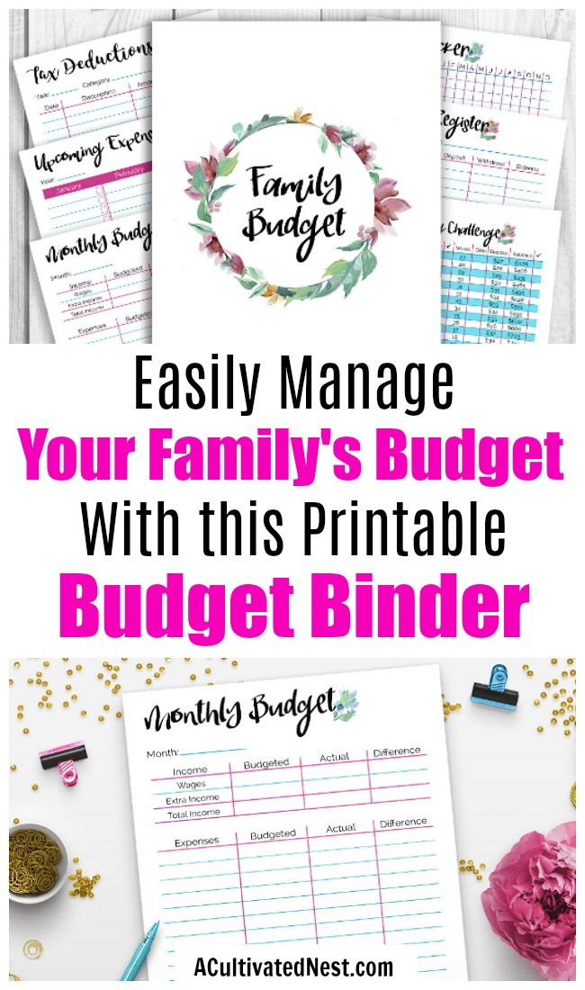 Printable Budget Binder- With 25+printables and a pretty watercolor floral theme, it'll be easy to manage your family's finances! | how to make a budget, manage your finances, family finances, family budget, expense tracker, money saving challenge, #printable #budgetBinder #budgeting #personalFinance