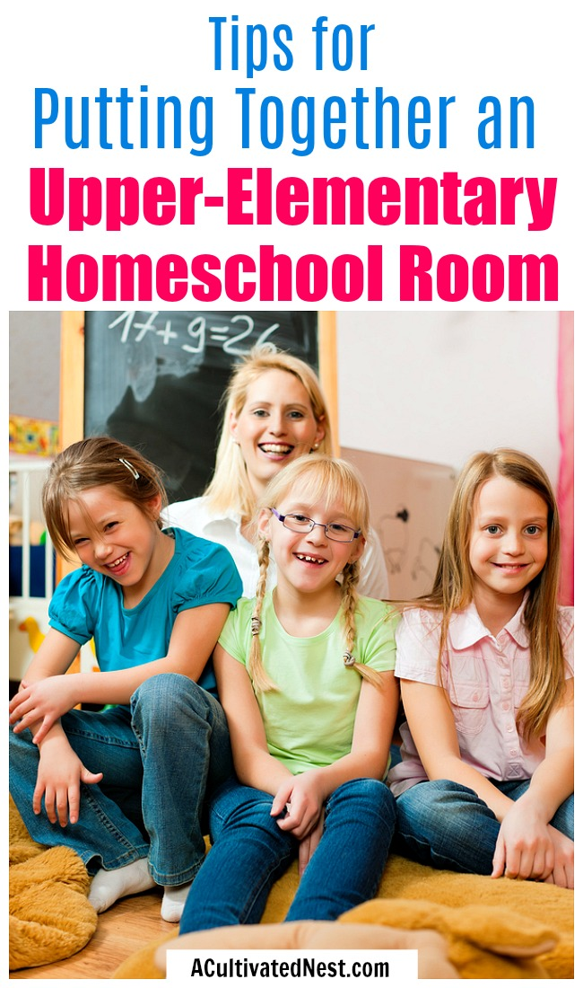Tips for Putting Together an Upper-Elementary Homeschool Room- It's not hard to put together a homeschool room for teaching older kids, if you know the right tips! Check out these helpful tips on putting together an upper-elementary homeschool room! | #homeschool #homeschooling #elementarySchool #howToHomeschool