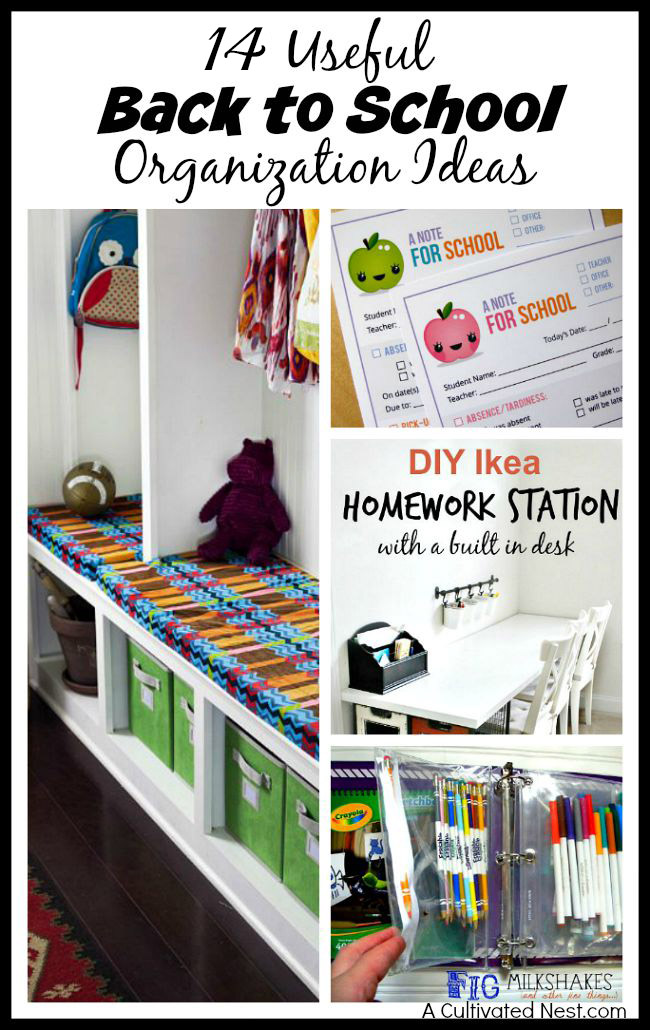 14 Useful Back to School Organization Ideas- Start the school year off neat and tidy with these 14 useful back to school organization ideas! They'll help your kids and you keep everything in order during the school year! | get organized for back-to-school, homeschool room organization, homeschooling, #backToSchool #organize #organizing #homeschooling #ACultivatedNest