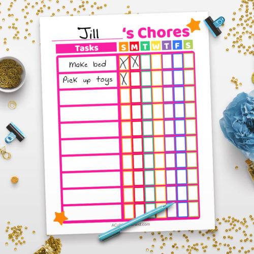 Printable Chore Chart- Pink
