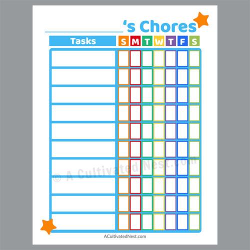 Printable Chore Chart- Blue