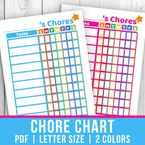 Printable Chore Chart- Blue + Pink