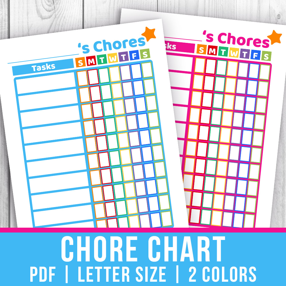 photo relating to Printable Job Chart identify Printable Little ones Chore Chart- Blue + Red