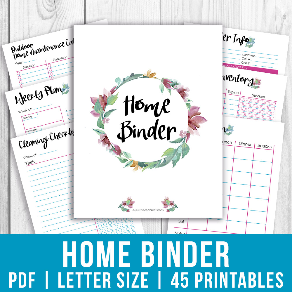 Printable Home Management Binder- Watercolor- A Cultivated